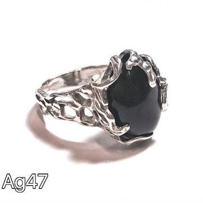 Silver 925 ring with natural black ..