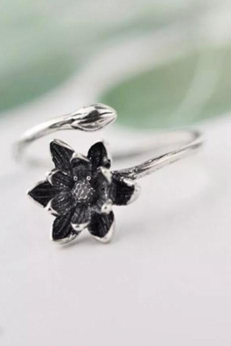 Flower - silver 925 ring for women - open ring