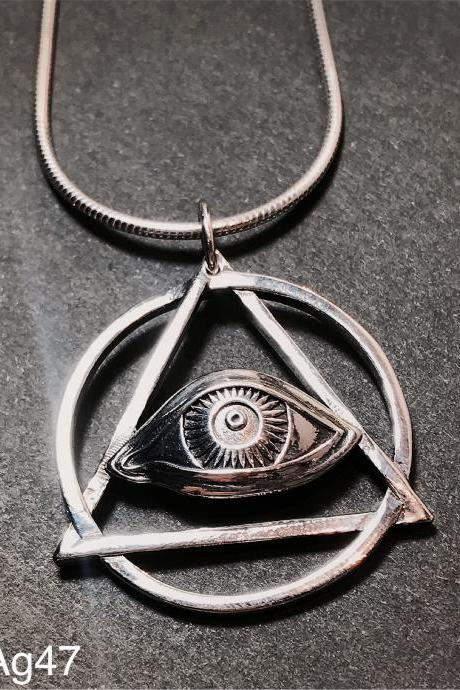 The eye of providence - Mason - All-seeing eye/ third Eye / the eye of God silver 925 pendant