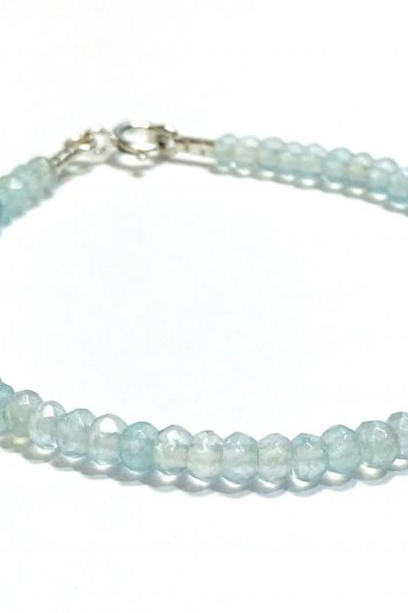Aquamarine - silver 925 bracelet for women
