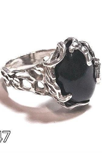 Silver 925 ring with natural black onyx - for women