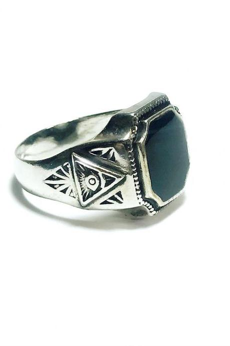 Pyramid - silver 925 ring for men
